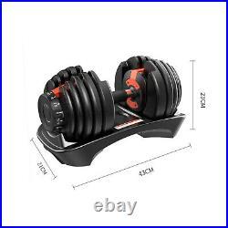 1-2PCS ADJUSTABLE DUMBBELLS 2-24kg / SET IN BLACK / RED TOTAL 24/48KG- UK SHIP
