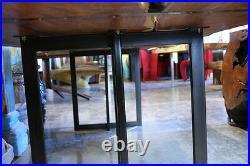 105 L Dining table solid Makha slab wood black iron legs live edge red grain