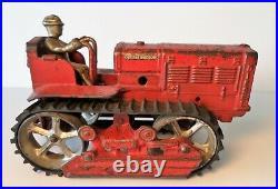 1930 Arcade International Red Track- Caterpillar Doze Tractor Cast Iron 8