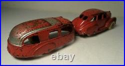 1938 HUBLEY CAST IRON SILVER / RED LINCOLN ZEPHYR SEDAN With HOUSE TRAILER