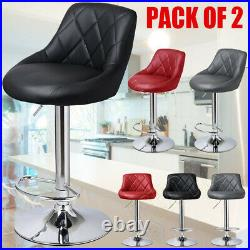 2 Set Breakfast Bar Stools Leather Swivel Chairs Gas Lift Rest Kitchen Cafe Pubs