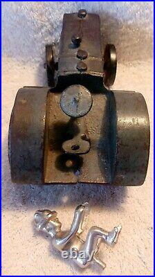 7 Vindex 1930s Cast Iron Case L Tractor withNickel Driver & Red Spoke Lug Wheels