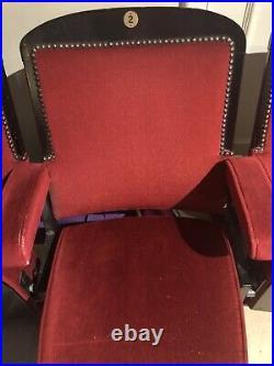 A Row of Four Vintage Retro Circa 1930s Cinema Theatre Seats Chairs Red Velvet