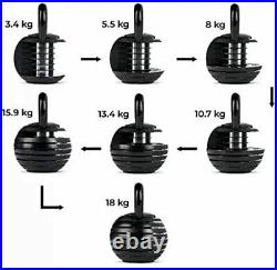 Adjustable Kettlebell 3-18kg 7 Weight Selections Cast Iron Home Gym UK Stock