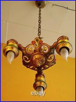 Antique 1920s Cast Iron 3 Lights Chandelier. Gold, Cobber red & green