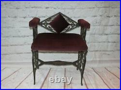 Antique Art Deco Bird of Paradise Cast Iron Bench with Side Arms and Diamond Back