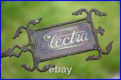 Antique Cast Iron Lighting Rod Weathervane Arrow Red Glass ELECTRA old Barn RARE