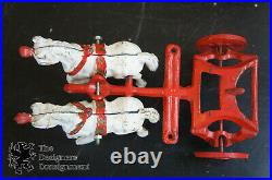 Antique Cast Iron Red Kenton Overland Circus Wagon Cage with Polar Bear Driver Toy