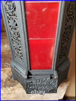 Antique Early C20th black/red Cast Iron Portway Tortoise Stove