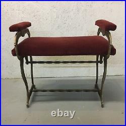 Antique English Bench Foot Stool Vanity Stool Upholstery Art Nouveau Cast Iron