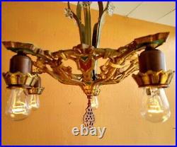 Antique Moe Bridges 1920s Cast Iron 5 Lights Chandelier Gold, Copper, red/green