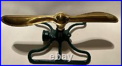 Armstrong E&m Vintage Lawn Sprinkler Art Deco With Brass Propeller Spinner Top