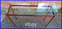 Art Deco antique stule heavy red wrought iron glass hall console side table