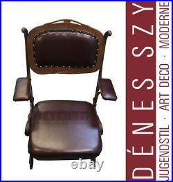 Art Nouveau Cinema folding armchair, cast iron around 1900, Hector Guimard