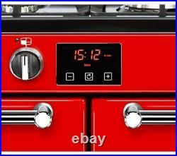 BELLING Kensington 100DFT Dual Fuel Range Cooker Red & Chrome Currys