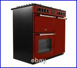 BELLING Kensington 90DFT Dual Fuel Range Cooker Red & Chrome Currys