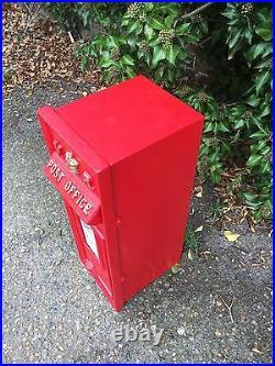 British VR Post Box Royal Mail Pillar Cast Iron Post Office Red