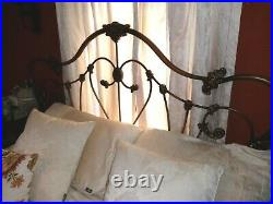 Cast iron bronze ornate metal double bed frame