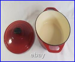 Chasseur Red Casserole Baking Oval Dish w Lid Cast Iron 27cm 3.6 Liter France