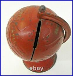 Circa 1900 revolving GLOBE ON ARC red cast iron still bank ALL ORIGINAL