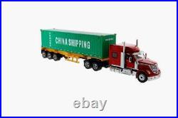 DM 71045 International LoneStar Truck Red with Skel Trailer Container 150