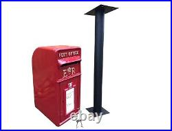 ER Post Box Postbox Letter Box and Stand Cast Iron Royal Mail Pillar Red Large