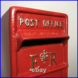 ER Postbox Letter Post Box Cast Iron Post Office Red Large Base Mount