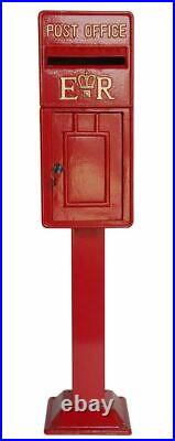ER Royal Mail Post Box ER II Pillar Box Red Cast Iron On Stand BLACK FRIDAY DEAL