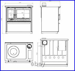 Enameled Cooking Woodburning Stove Plamen 850 Glas Red Left 11kw. A+