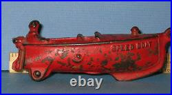 FINAL LG. PRICE CUT SPEED BOAT TOY CAST IRON With MAN ALL ORIG RED, AUTHENTIC OLD