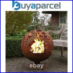 Fallen Fruits Oxidised Meadow Globe Sphere Fire Pit Basket Bowl Cast Iron