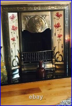 Fully polished casting with red lily tiles gas fire/surround with gas tray 2suit