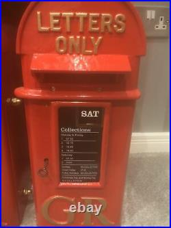 GR Cast Iron Pole Mounted Royal Mail Letter Post Box Red George 5th