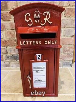 GR Cast Iron Royal Mail Post Office Red Post box Letter Box George VI