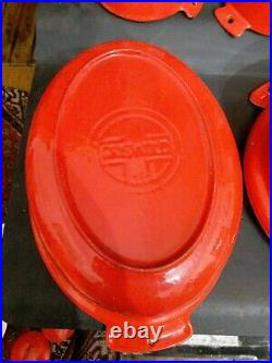 GRISWOLD Cast Iron Red Enamel Ware Red Cream Lot