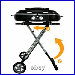 Gas BBQ Portable Folding 2 Burners Ideal for Camping Garden Beach Easy To Store