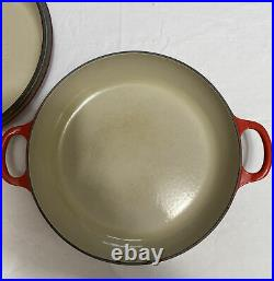 Le Creuset #26 Enameled Cast Iron Red Covered Dutch Oven Braiser