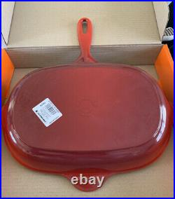 Le Creuset 32cm Cast Iron Oval Oblong Skillet /Griddle / Frying Pan -Cerise
