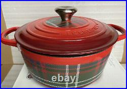 Le Creuset 4.5QT Red Tartan Plaid Round Casserole Cast Iron Cerise New & Rare