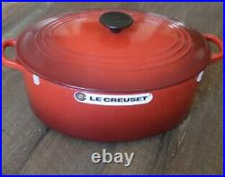 Le Creuset 6.75 qt 6 3/4 French Dutch Oven Cerise Cherry Red New In Box Oval