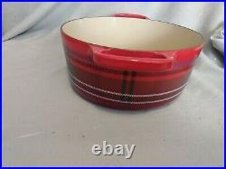Le Creuset Cast-Iron 4.5 QT Dutch Oven Pot Cherry Tartan Plaid RED
