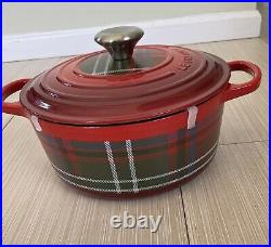 Le Creuset Cast Iron, 4.5qt, Dutch Oven Cerise Cherry Red Tartan Plaid RARE NEW