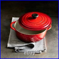 Le Creuset Cast-Iron Round Dutch Oven-Cerise (Red)-5 1/2-Qt-5.5 Qt-Retails $450