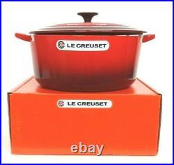 Le Creuset Enamel Cast Iron 7.25 Qt. Round Dutch Oven Cerise Red NEW