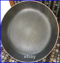 Le Creuset France Skillet Frying Pan #26 Cast Iron Red Enamel Wood Handle
