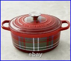 Le Creuset Signature Cast Iron Round Dutch Oven 4.5 Qt Cerise Red Tartan Plaid