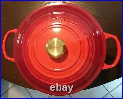 Le creuset rare high enameled cast iron round casserole cherry red #28 8 1/2 qt
