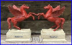 MOBIL OIL Pegasus Edwardian Heavy Cast Iron Flying Red Horse Statue Bookends