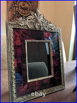 Maitland Smith M Photo Frame inlaid pearl shell red Neiman picture gold metal