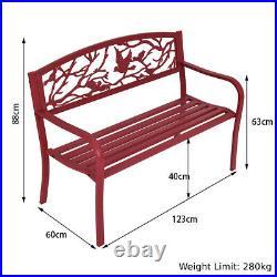 Metal Garden Bench Patio Park Loveseat Cast Iron Bird and Tree Outdoor Furniture